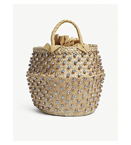 LE NINE Nina large straw bucket bag (Light saphire