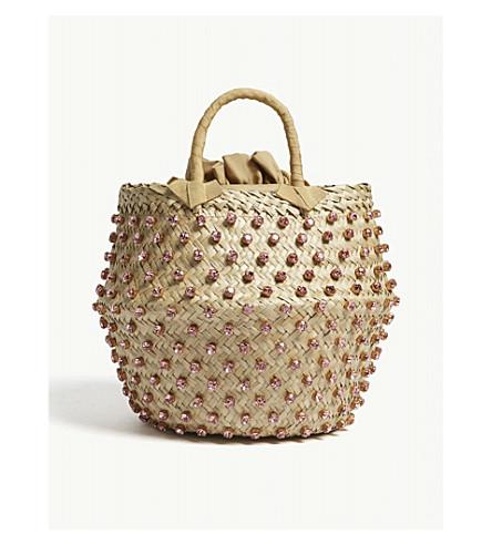 LE NINE Nina large straw bucket bag (Light rose