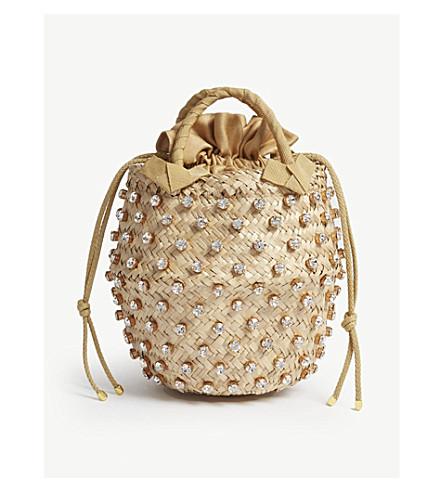 LE NINE Nina straw mini bucket bag (Argent
