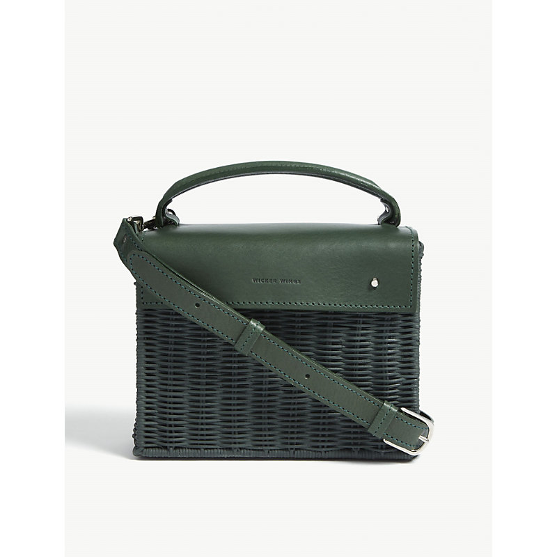 WICKER WINGS Kuài wicker and leather shoulder bag