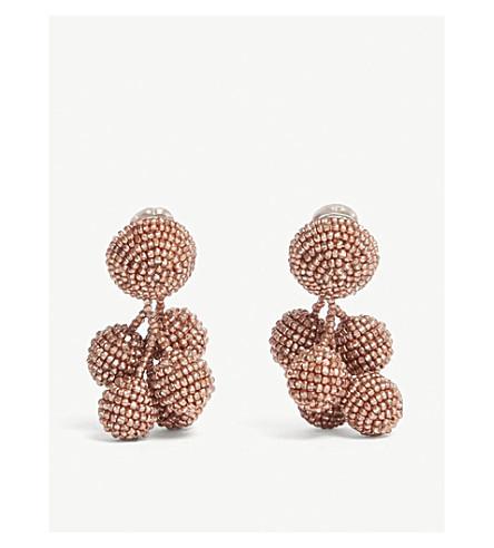 沙钦坦 & BABI 迷你椰子玻璃珠滴耳环 (玫瑰 + 金色