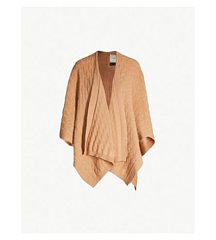 LOU DUNGATE Cashmere poncho (Camel+hair+tan+brown