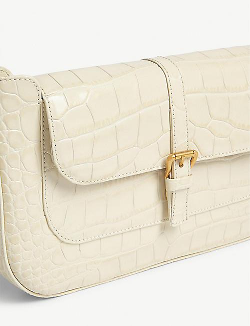 BY FAR Miranda croc-embossed leather shoulder bag