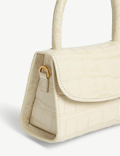 BY FAR Croc-embossed leather mini tote