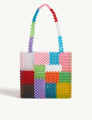 Ash patchwork beaded tote(8260503)