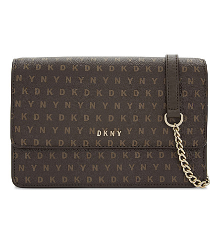 DKNY Logo leather small cross-body bag (Brown+logo