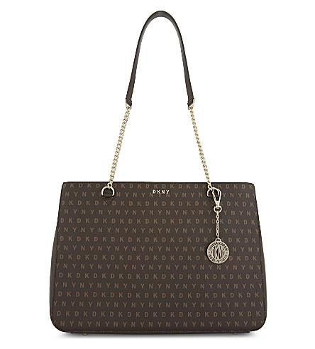 DKNY Logo leather shoulder bag (Brown+logo