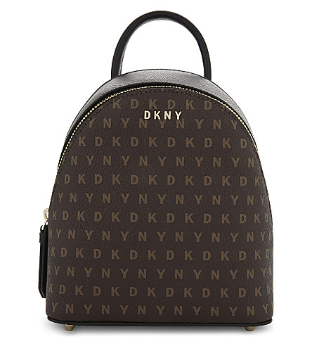 DKNY Logo print mini backpack (Brown+logo