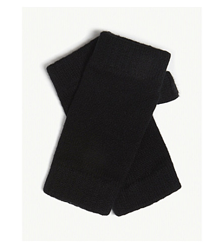 JOHNSTONS Plain cashmere wristwarmers (Black