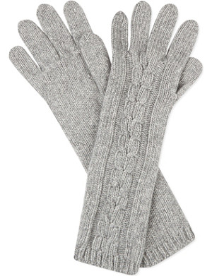 JOHNSTONS Aran knit cashmere gloves