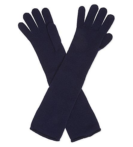 JOHNSTONS Long cashmere gloves (British blue