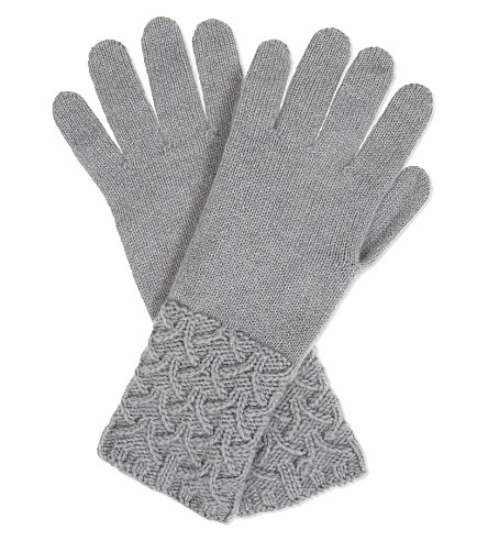 JOHNSTONS Textured cuff cashmere gloves (Coyote