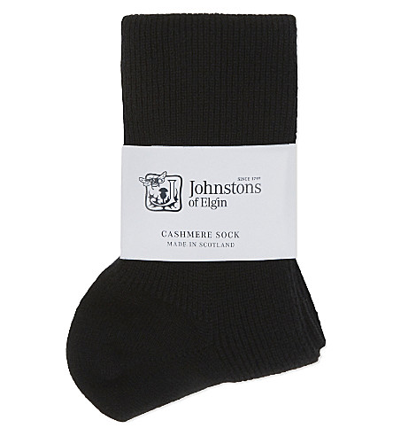 JOHNSTONS Ribbed cashmere socks (Black
