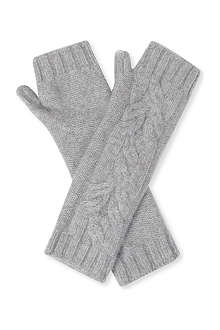 JOHNSTONS Cable knit fingerless gloves