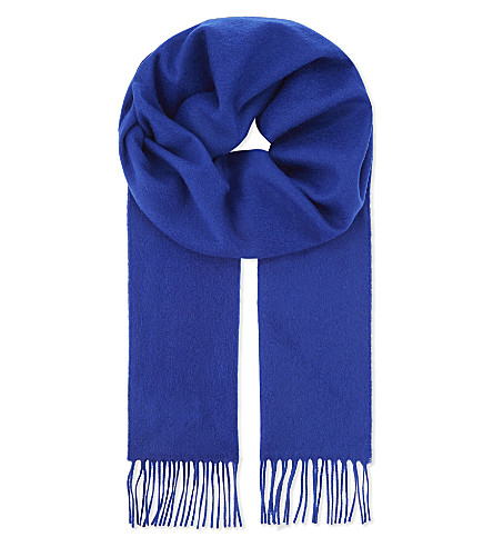 JOHNSTONS Tassel-trim cashmere scarf (Bright+blue