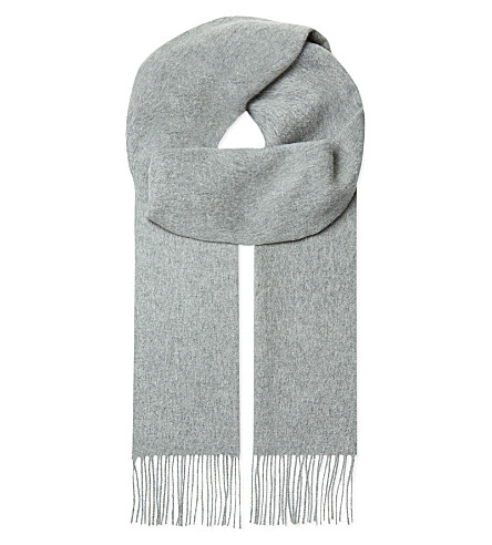 JOHNSTONS Tassel-trim cashmere scarf (Light+grey