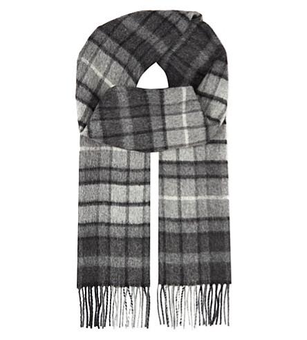 JOHNSTONS Cashmere tartan scarf (Grey+buchanan