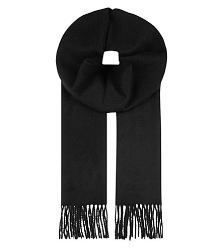 JOHNSTONS Cashmere plain scarf (Black