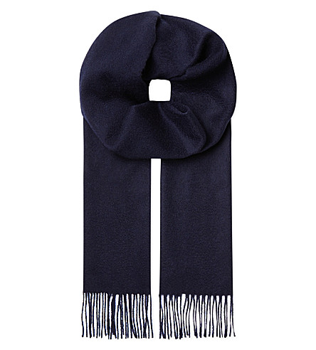 JOHNSTONS Cashmere plain scarf (Navy