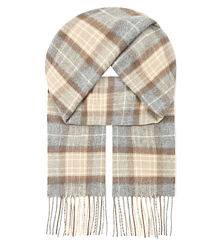 JOHNSTONS Cashmere check scarf (Natural+mackellar