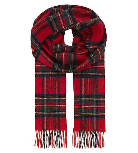 JOHNSTONS Personalised cashmere scarf (Royal+stewart
