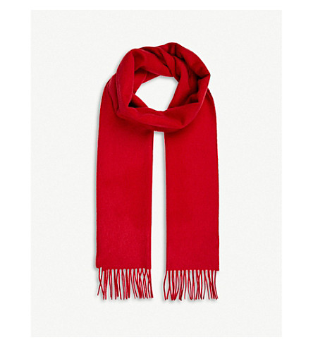 JOHNSTONS Classic cashmere scarf (Classic+red