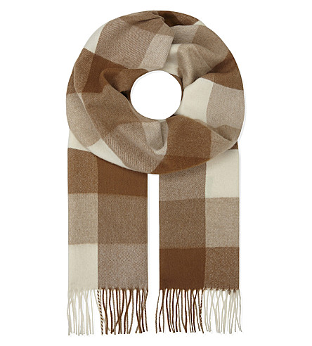 JOHNSTONS Cashmere-vicuna blend check print scarf (Block+check