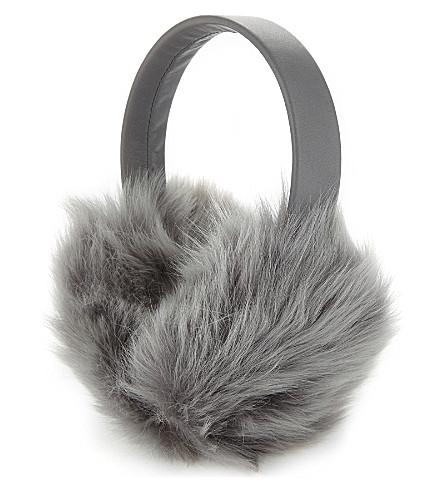 KARL DONOGHUE Fluffy lambskin earmuffs (Macadamia/grey melange