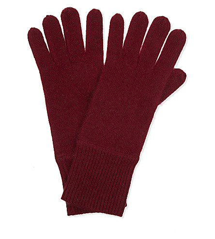CASH CA Cashmere soft milled gloves (Deep+red