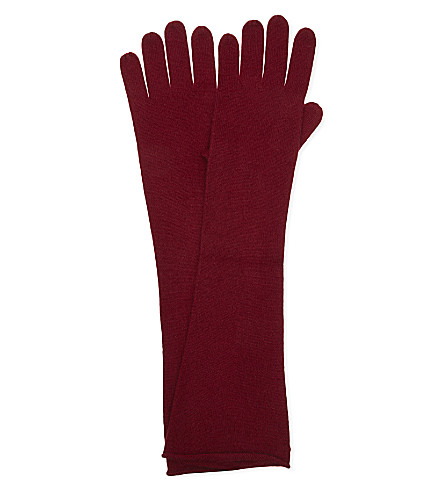 CASH CA Elbow length cashmere slouch gloves (Deep+red