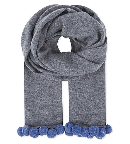 CASH CA Pom pom cashmere scarf (Grey+smoke/horizon+pw