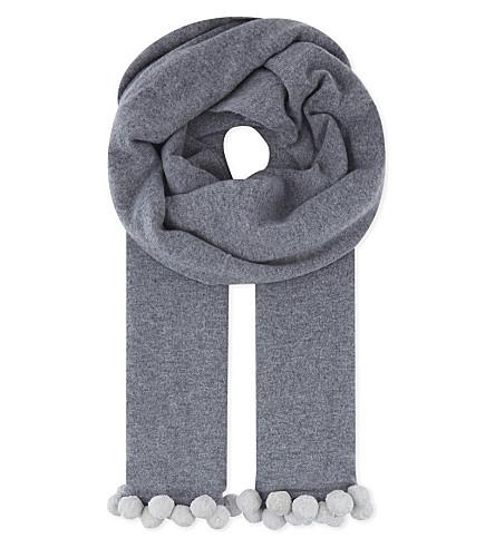 CASH CA Large pompom cashmere scarf (Grey+smoke/vapour+px