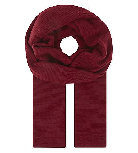 CASH CA Classic pashmina cashmere scarf (Deep+red