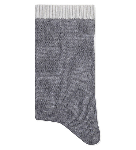 CASH CA Cashmere slouch bed sock (Grey+smoke/vapour+nu