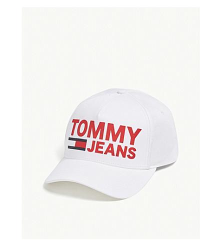 TOMMY JEANS羊群标志棉 snapback 帽 (亮 + 白