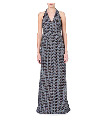 MISSONI Halterneck knitted gown (Blue