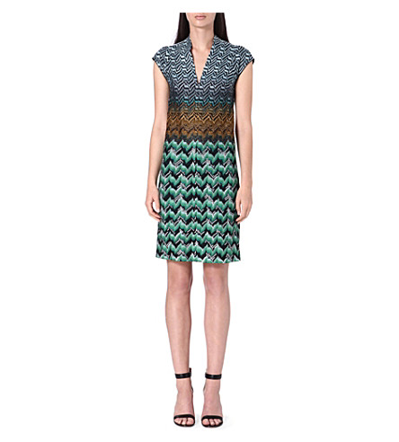MISSONI Knitted v-neck dress (Green