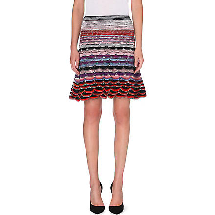 MISSONI Knitted midi flare skirt (Blue/pink