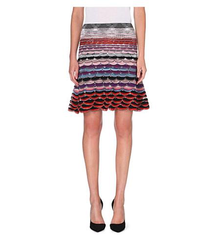 MISSONI Knitted midi flare skirt (Blue/pink