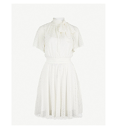 MISSONI Neck-tie fit-and-flare lace mini dress (White