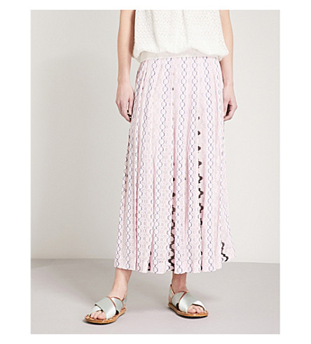 MISSONI Chain-pattern woven midi skirt (Pink/black