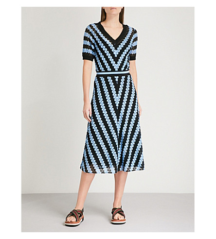 MISSONI Chevron-knit midi dress (Blue/black