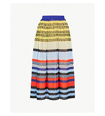 MISSONI Striped geometric-knit midi skirt (Multicolour