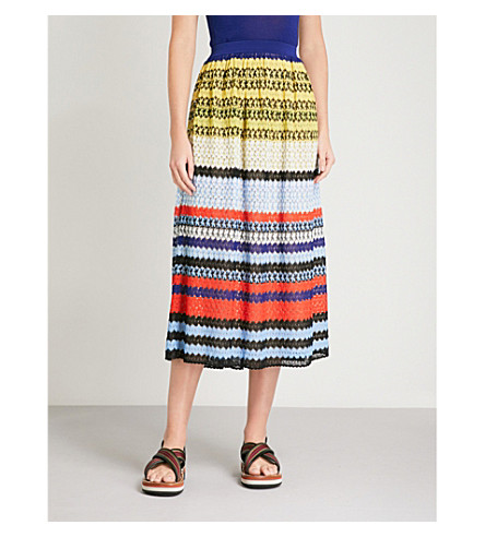 MISSONI Striped geometric-knit midi skirt (Multicolour