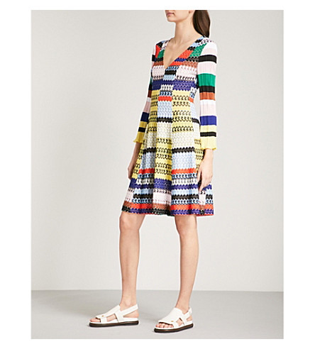 MISSONI Striped contrast-panel fit-and-flare woven dress (Multicolour