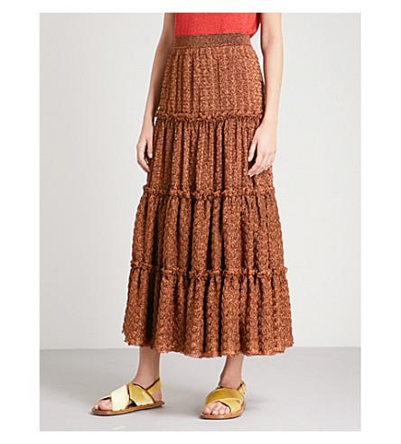 MISSONI Tiered metallic-knit high-rise midi skirt (Bronze
