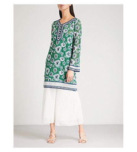 MISSONI Tunisian collar woven top (Green/white