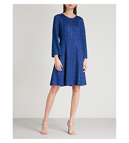 MISSONI Wave-pattern metallic-knit woven dress (Sky+blue