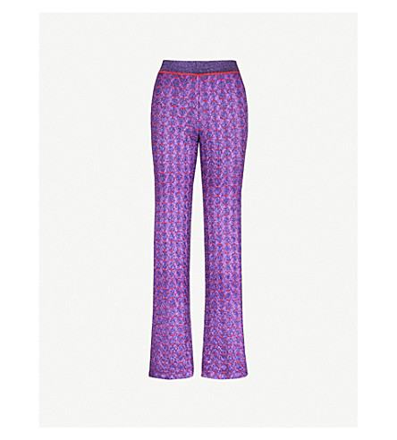 MISSONI Chain-embroidered metallic-knit relaxed-fit woven trousers (Navy