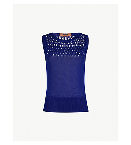 MISSONI Crotchet-knit sleeveless cotton top (Blue
